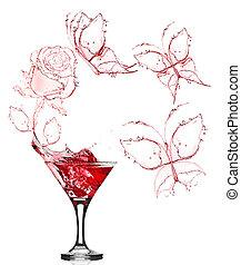rosa, salpicadura, martini, rojo