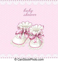 rosa, saqueos bebé, tarjeta, ducha