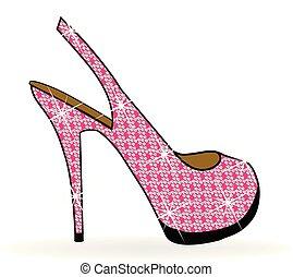 rosa, scarpe, alto, vettore, tallone, donne
