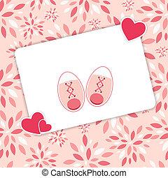 rosa, scarpe, illustrazione, neonato, vettore, ragazza bambino