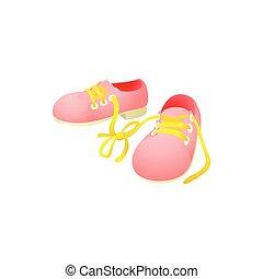 rosa, scarpe, insieme, merletti, legato, icona