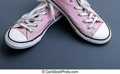 rosa, scarpe tennis, vecchio, portato, paio