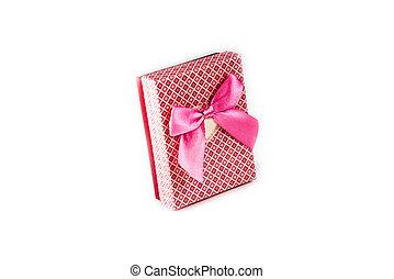 rosa, scatola, arco regalo, fondo, nastro bianco