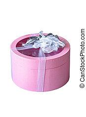 rosa, scatola, regalo, isolato, arco, fondo, nastro bianco
