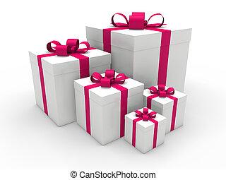rosa, scatola, regalo natale, 3d