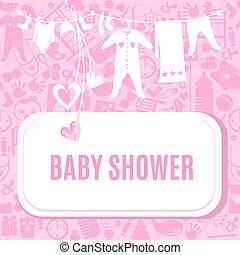rosa, scheda colore, doccia, bambino