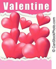 rosa, scheda valentine, fondo, cuori, rosso