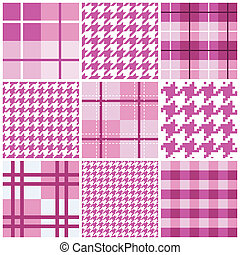 rosa, seamless, patrón, colección