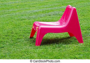 rosa, sedia, erba, verde