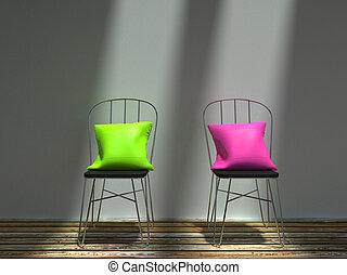 rosa, sedie, metallo, due, cuscini, verde