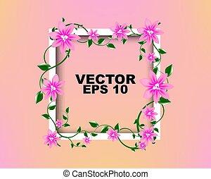 rosa, sein, vector:, gebraucht, rahmen, gruß, einladung, zeitschrift, design, buechse, schablone, weisse blumen, karte