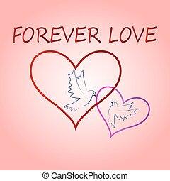 rosa, sempre, vettore, parole, valentine, amore, volare, colombe, illustrazione, fondo, contorni, santo, paio, cuori, giorno, scheda