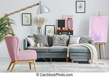 rosa, sessel, auf, grau, teppich