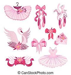 rosa, set, ballet., accessori, illustrazione, vettore
