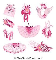 rosa, set, ballet., articoli, illustrazione, tema, vettore