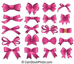 rosa, set, illustrazione, arco, vettore, tuo, nastro, design.
