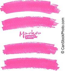 rosa, set, macchie, luminoso, vettore, pennarello