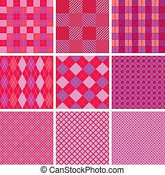 rosa, set, ragazze, seamless, modelli, colori, plaid