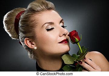 rosa, signora, rosso, charmant