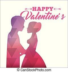 rosa, silhouette, astratto, valentines, amore, coppia, felice