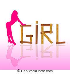 rosa, silhouette, caldo, vettore, sexy, ragazza