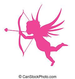 rosa, silhouette, cupido