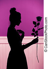rosa, silhouette, femmina, presa a terra