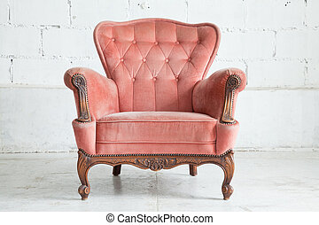 rosa, sillón, sofá