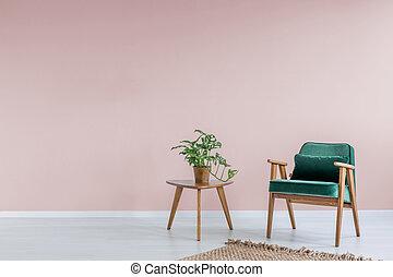rosa, sillón, verde, habitación