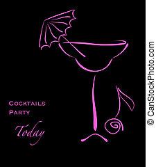 rosa, silueta, alcohol, vidrio cóctel, fiesta.