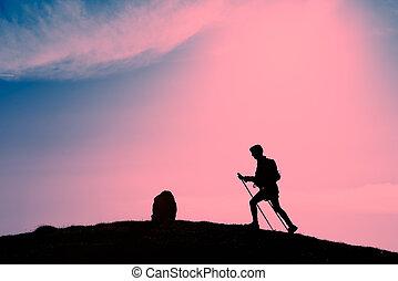 rosa, silueta, ocaso, viajando arduamente, niña, marcas