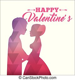 rosa, silueta, resumen, valentines, amor, pareja, feliz