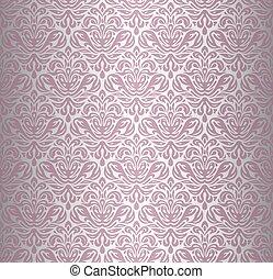 rosa, &, silver, tapet, årgång