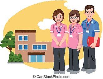 rosa, sjukvård, hus, caregivers, le, likformig
