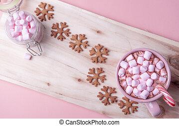 rosa, småkakor, dricka, solglasögoner, varm, jul