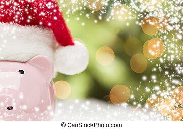 rosa, snöflingor, nasse, jultomten hatt, bank
