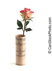 rosa, sobre, folha, branca, música