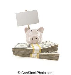 rosa, soldi, segno, piggy, vuoto, accatastare, banca