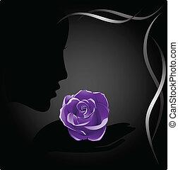 rosa, sombra, menina, violeta