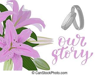 rosa, sommar, eller, ord, ram, par, blå, ringer, hälsning, inbjudan, bakgrund., bröllop, mall, vår, strory, vita blommar, lilja, silver, kort, design.