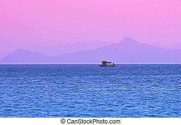 rosa, sonnenuntergang, in, griechenland