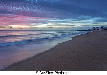 rosa, sonnenuntergang, strand, in, quarteira.