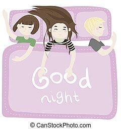 rosa, sonno, bambini, camera letto, vettore