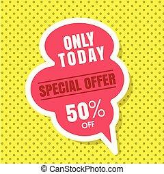 rosa, spento, offerta, immagine, 50%, giallo, soltanto, vettore, discorso, speciale, fondo, oggi