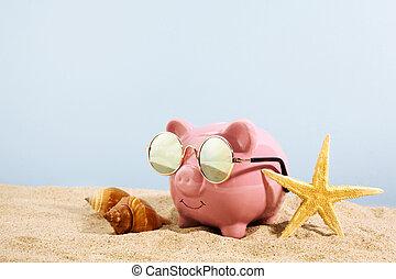 rosa, spiaggia, occhiali da sole, banca piggy