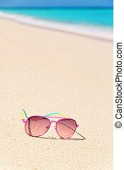 rosa, spiaggia, occhiali da sole, composizione, verticale