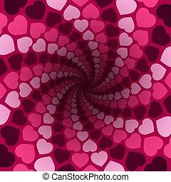 rosa, spirale, amore, modello, fondo, cuori