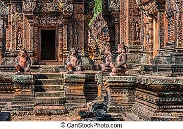 rosa, srei, banteay, Estatuas, mono, hindú, camboya, templo...