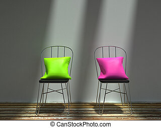 rosa, stühle, metall, zwei, kissen, grün