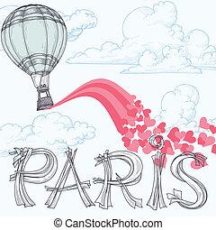 rosa, stadt, balloon, liebe, beschriftung, begriff, text,...